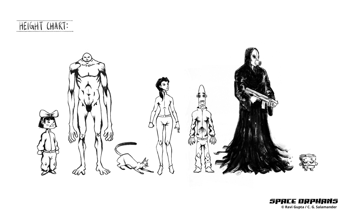 Height  Chart for the characters from the comic 'Space Orphans'.