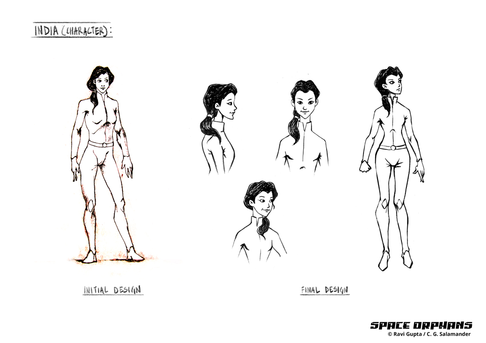 India character design, Space Orphans.
